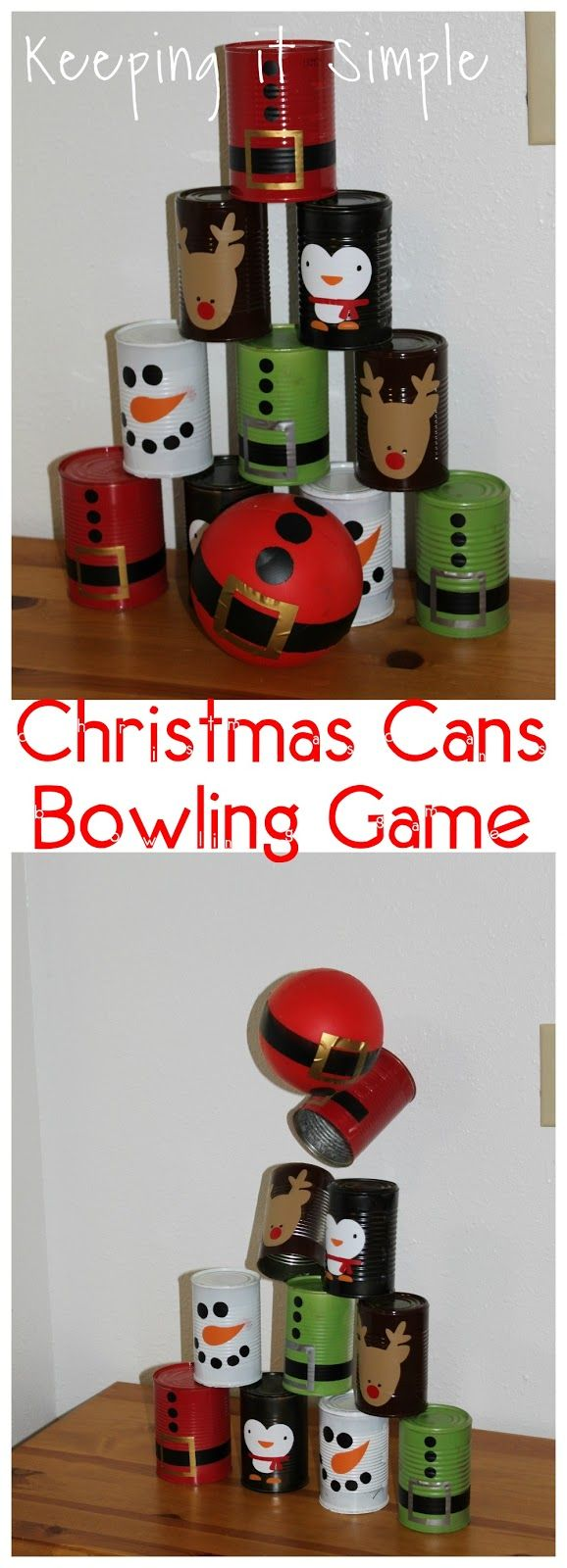 Keeping it Simple: Christmas character cans bowling game. Great game for school Christmas parties or to entertain kids over Christmas break.