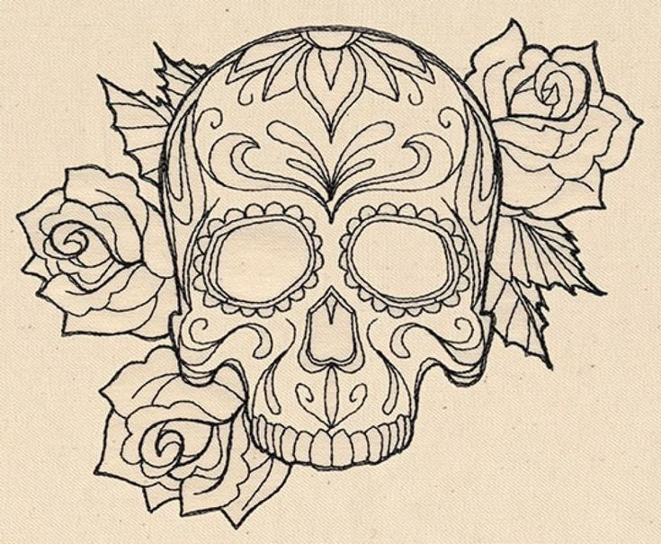 Black Outline Gangster Sugar Skull With Roses Tattoo Stencil