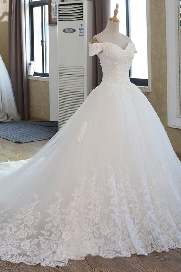 Glamorous Tulle Off-the-shoulder Neckline Ball Gown Wedding Dress With Beadings & Lace Appliques