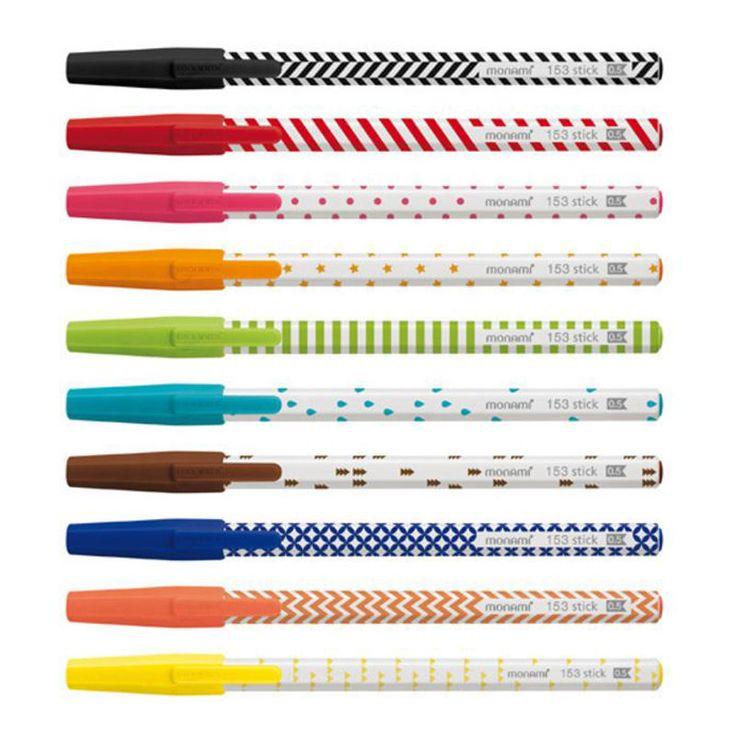 Korea 153 Sitck Pop Ballpoint Pen MONAMI 0.5mm Ink 10 Colors 10PCS Free Gift  #MONAMI