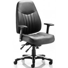 #Barcelona #LeatherOfficeChair  Barcelona Leather Office Chair Black Bonded Leather Thick padded foam Height Adjustable Arms Triple lever multi functional mechanism - Seat Height, Back Tilt, Seat Slide