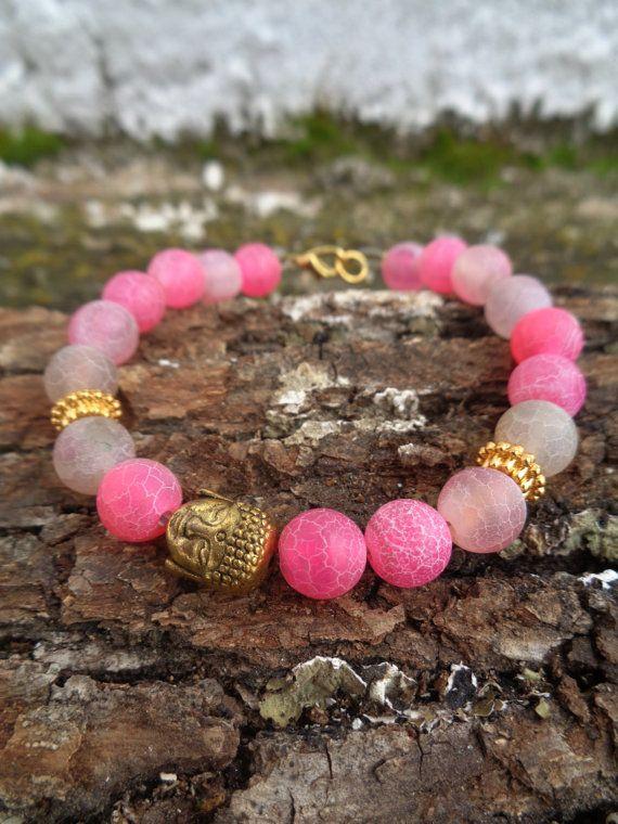 Pink fire OOAK friendship bracelet / Bohemian bracelet / Summer bracelet/ jade beaded bracelet / semiprecious/ Ethnic bracelet