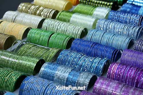 green, blue and purple indian bangles