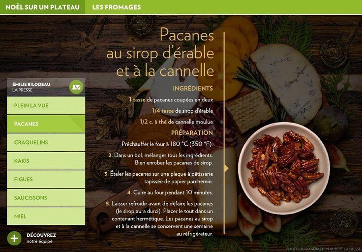 INGRÉDIENTS-1 tasse de pacanes coupées en deux-1/4 tasse de sirop d'érable-1/2 c. à thé de cannelle moulue-PRÉPARATION- Préchauffer le four à 180°C (350°F).-2. Dans un bol, mélanger tous les ingrédients.    Bien enrober le