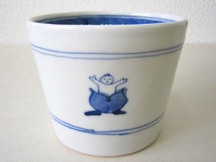 季器窯(中町いずみ)染付けそばちょこ・桃太郎