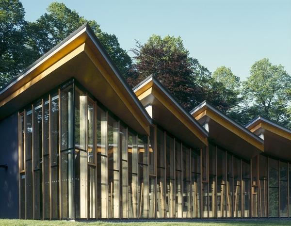 Avenham Park Pavilion, Preston, Lancashire by McChesney Architects using glulam beams, spruce plywood, Douglas Fir.