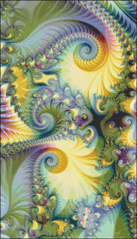Sunset Fractal Swirl Cross Stitch Pattern, Instant Download PDF, Yellow, Green Purple Swirl.