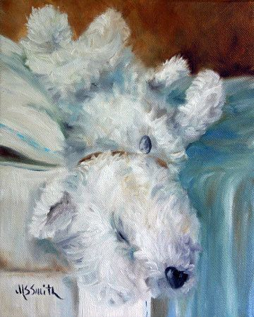 """""""Bed Hog"""" (Westie West Highland Terrier) Print of Original Oil Painting Printed on Unstretched Canvas OR Heavy weight water color paper Each Print has a white border around it so that it can be mounted on a panel or stretcher bars for framing OR can be framed as is in a regular"""
