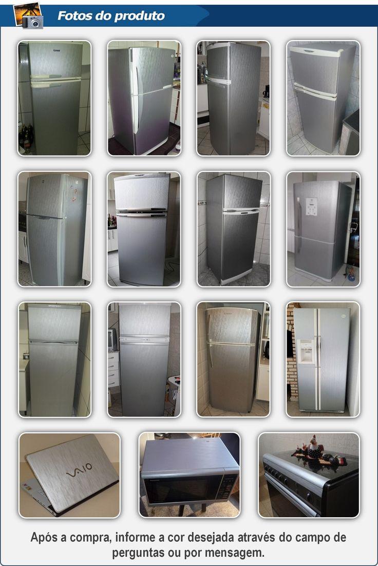 Adesivo Aço Escovado Para Envelopamento De Geladeira Freezer - R$ 23,90