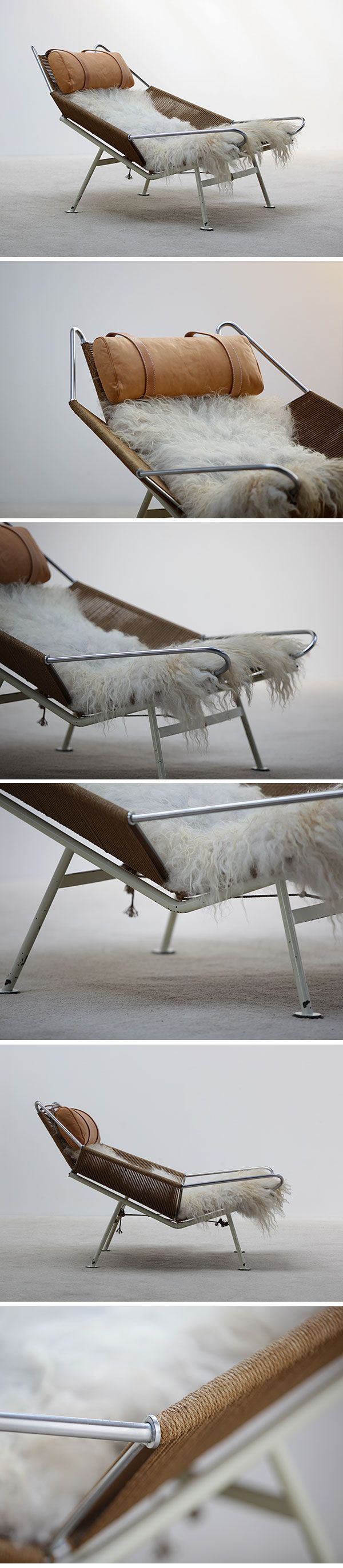 Relaxation. Hans Wegner's Flag Halyard Chair. Love these unconventional textures and their effortless joining