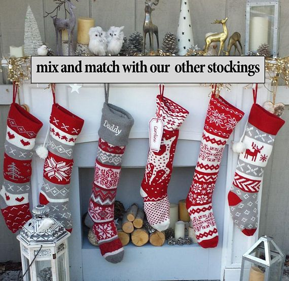 Knit Christmas Stockings Red White Reindeer Or Snowflake Etsy In 2020 Christmas Stockings Modern Christmas Stocking Knitted Christmas Stockings