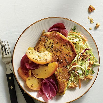 (Use all olive oil) Oven-Baked Pork and Apples -- This is a delicious version of classic baked pork and apples. Serve with a simple broccoli slaw mixed with toasted walnuts and parsley and tossed with a light safflower mayo dressing.