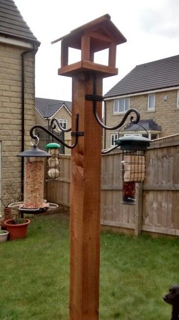 Homemade bird feeding station
