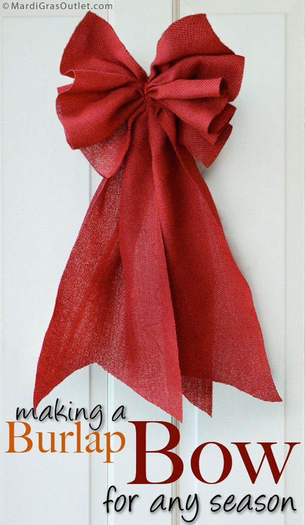 """Making a Ruffle Style Burlap Bow with 10"""" Ribbon. Pinner says: Combining two of our favorite things: ruffles and bows. Technique can be used with wider ribbon & mesh creates a pretty ruffled bow & shows off the natural burlap texture and uses less ribbon than traditional looped bows. Tutorial shows how to create this bow w/a rich red that is perfect for fall or Christmas. This bow can be made in any ribbon or fabric but must be at least 9"""" wide."""