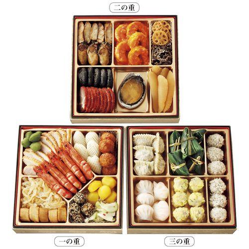 多彩な食材を使った前菜、メイン料理、酒肴にも食事にもぴったりな点心。中華のフルコースを楽しんでいただける三段重です。〈謝朋殿〉の人気の味を詰め合わせて。【誠に勝手ながら、12月30日(金)・31日(土)のお届けにつきましては、大変混雑することが予想されます。商品のお届けが遅くなり夜間となる場合がありますこと、あらかじめご了承くださいませ。】