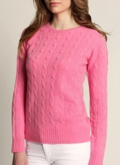 Women's Cable O-neck Pink  100 % Cashmere  www.softgoat.com