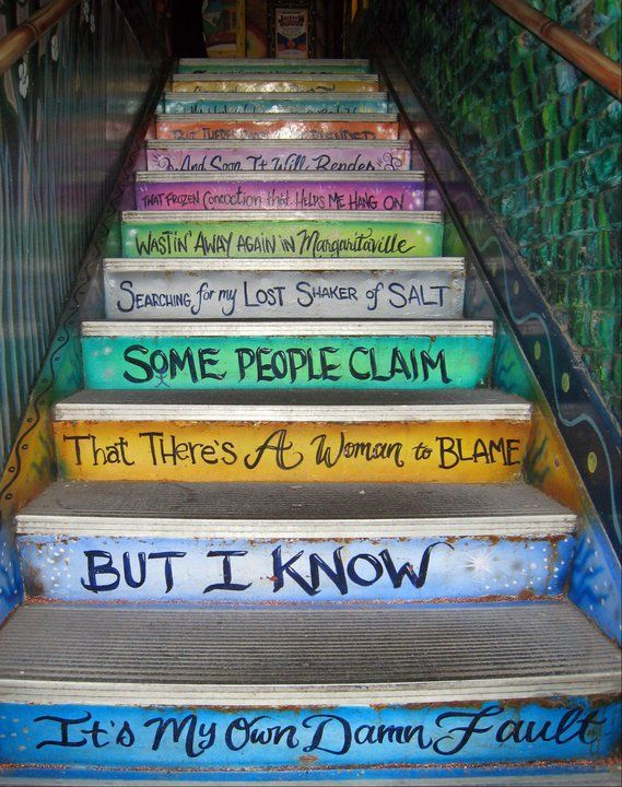 ;) The steps to the restrooms at the Margaritaville Café in Key West