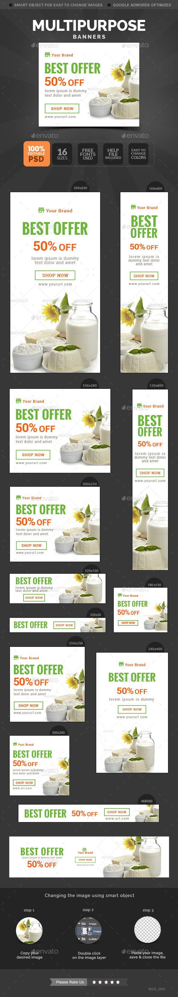 #Multipurpose #Banners - Banners & Ads #Web #Elements Download here: https://graphicriver.net/item/multipurpose-banners/10654524?ref=alena994