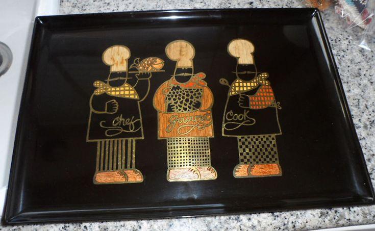 "Vintage Couroc Monterey GOURMET CHEF COOK (3) Inlaid Tray Platter 12""x18"" MCM"