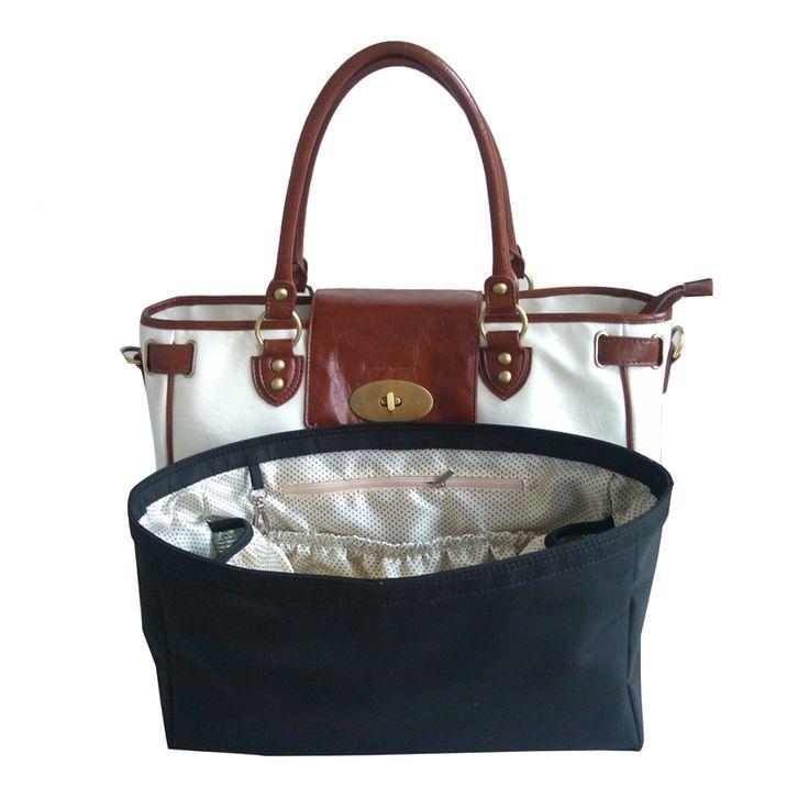 Real leather baby changing handbag.