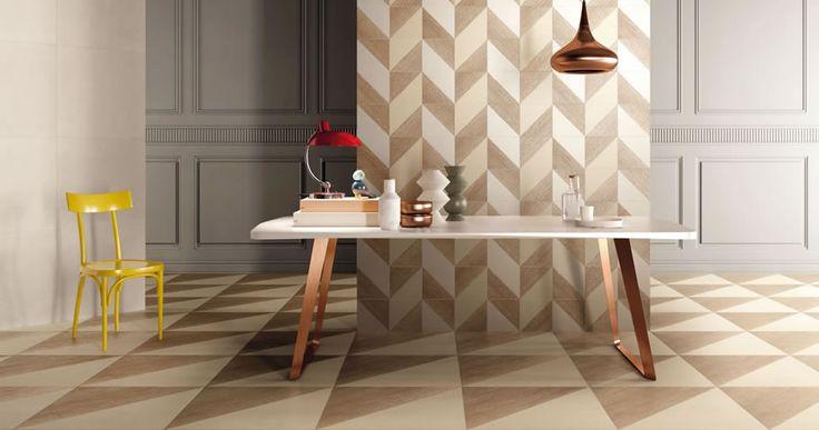 Triangoli, quadrati, esagoni in gres porcellanato: perfetto connubio tra legno e cemento per pavimenti e pareti. #trellis #kronosceramiche #gresporcellanato #rivestimenti