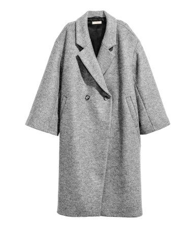 Grey marl. PREMIUM QUALITY. Double-breasted, calf-length wool coat in an oversized style with dropped shoulders, wide sleeves and diagonal pockets at the