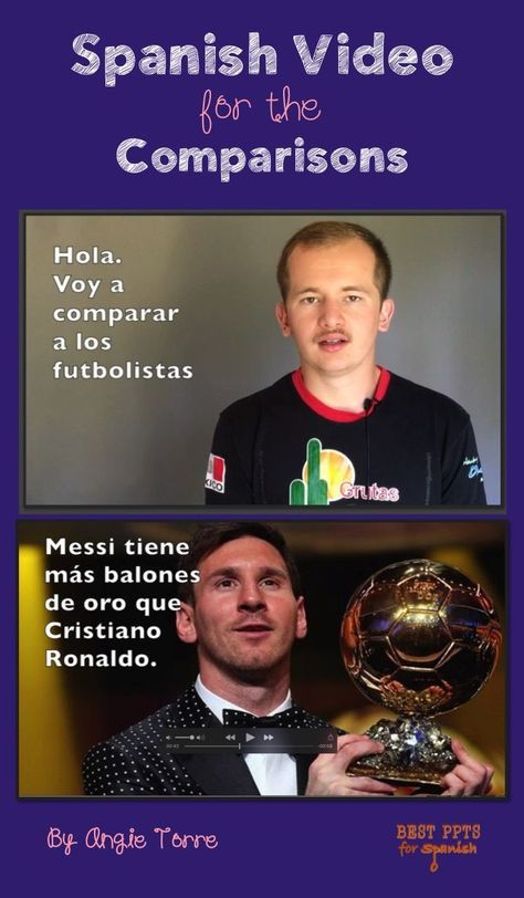 "Spanish video for, ""Los comparativos"".   Videos of native speakers with Spanish subtitles AND visuals and animation to aid in comprehension, with music and corresponding activities for recycling and repetition of vocabulary and concepts.  In this video, Rodrigo compares the two soccer players, Cristiano Ronaldo and Lionel Messi.  He uses the expressions, ""más...que / menos que.../ mejor que.../ peor que / tan...como / tanto como / tantos... como"". Also vocab, script, activities"