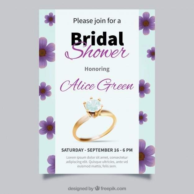 Realistic bridal shower invitation with ring and flowers Free Vector