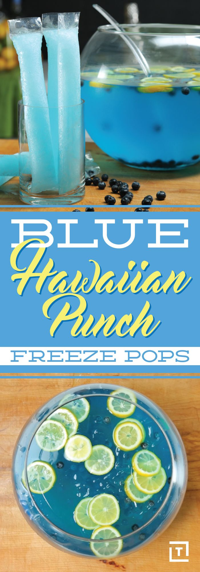 We've taken it upon ourselves to make your childhood freeze pops bigger and better this summer. Made with blue Hawaiian Punch, rum, lemon-lime soda, and blueberries, these blue freeze pops are waiting to be fought over, just like old times.