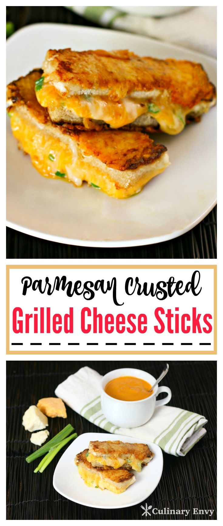 These perfectly golden brown toasty, buttery Parmesan crusted Grilled Cheese Sticks are filled with 2 ooey gooey melted cheeses…plus a few more surprises!  Click to read more or Pin & Save for later!