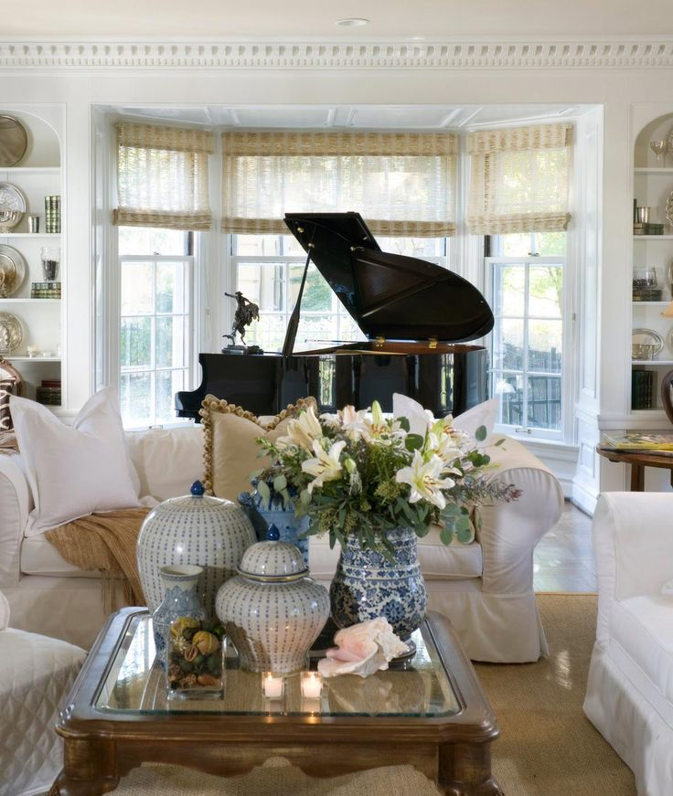 Elegant blue white pinterest indigo interior for Grand piano in living room