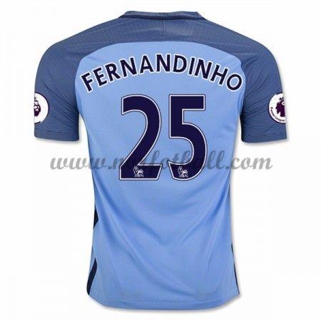 Billige Fotballdrakter Manchester City 2016-17 Fernandinho 25 Hjemme Draktsett Kortermet
