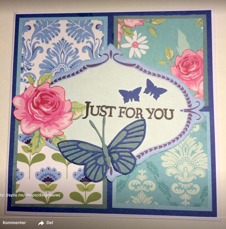 Handmade card. Just for you. Rose. Butterfly.
