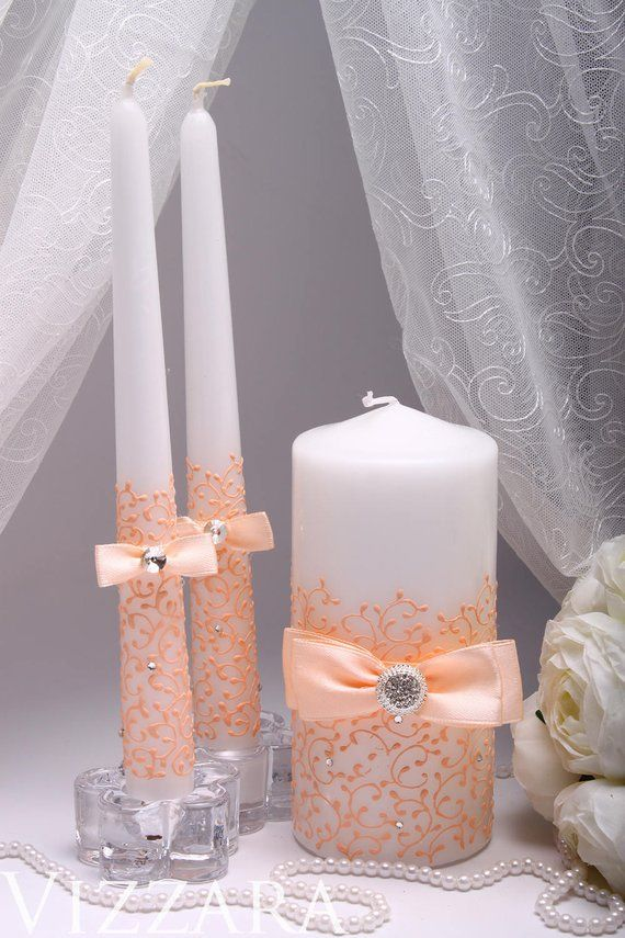 Wedding Unity Candle Peach Hand Painted Personalized Unity Candle