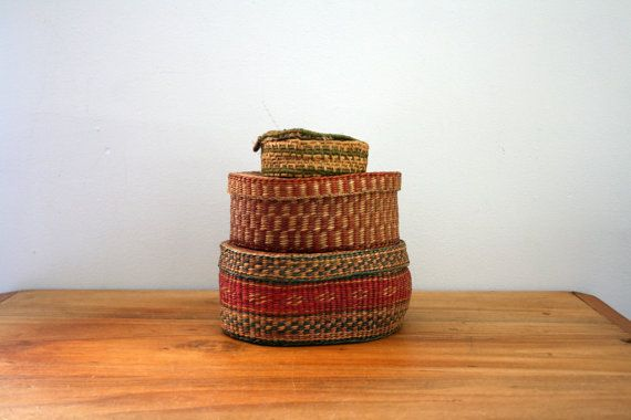 vintage Woven Ethnic Jewelry Boxes // Trio of Trinket Boxes by littleveggievintage, $34.00