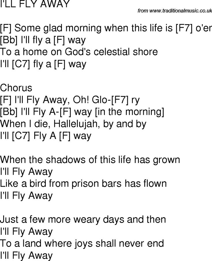 I,ll Fly Away; OLD HYMNS | Download this song as PDF file (For printing etc. no ads or banners)