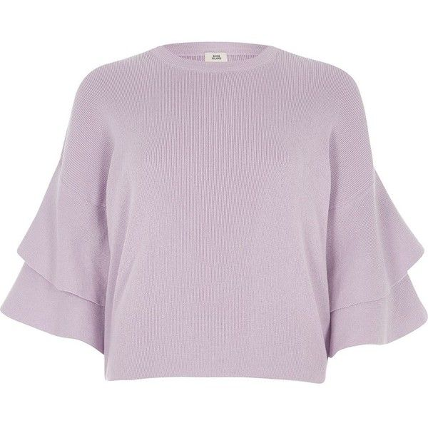 River Island Lilac knit frill sleeve sweater (1,300 EGP) ❤ liked on Polyvore featuring tops, sweaters, knitwear, women, tall sweaters, 3/4 length sleeve tops, flutter sleeve top, knit sweater and knit top