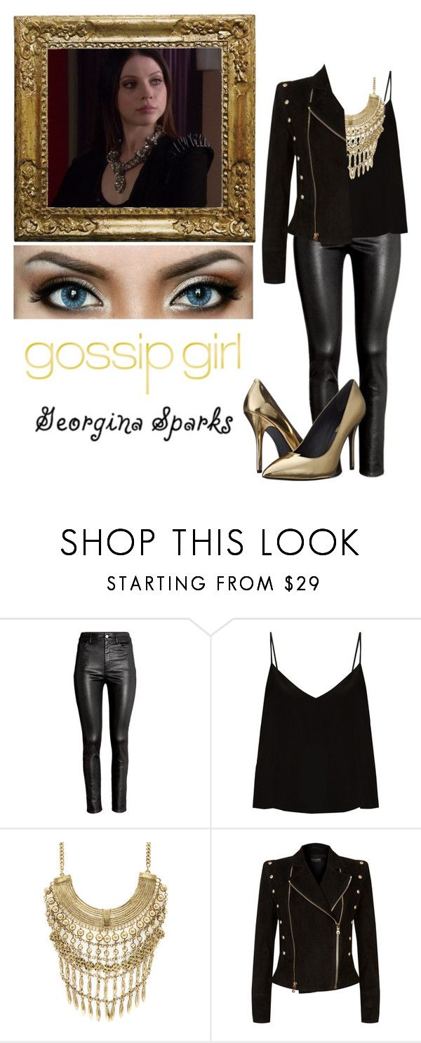"""Georgina Sparks - Gossip Girl"" by loserbitch ❤ liked on Polyvore featuring H&M, Raey, Marabelle, Balmain and Pierre Balmain"