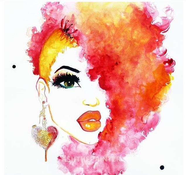 Awesome watercolor Afro