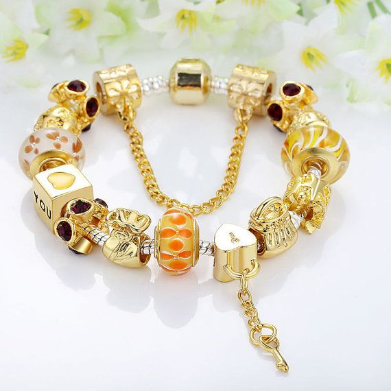 Pandora bracelet pandora charm  European charm bracelet Gold