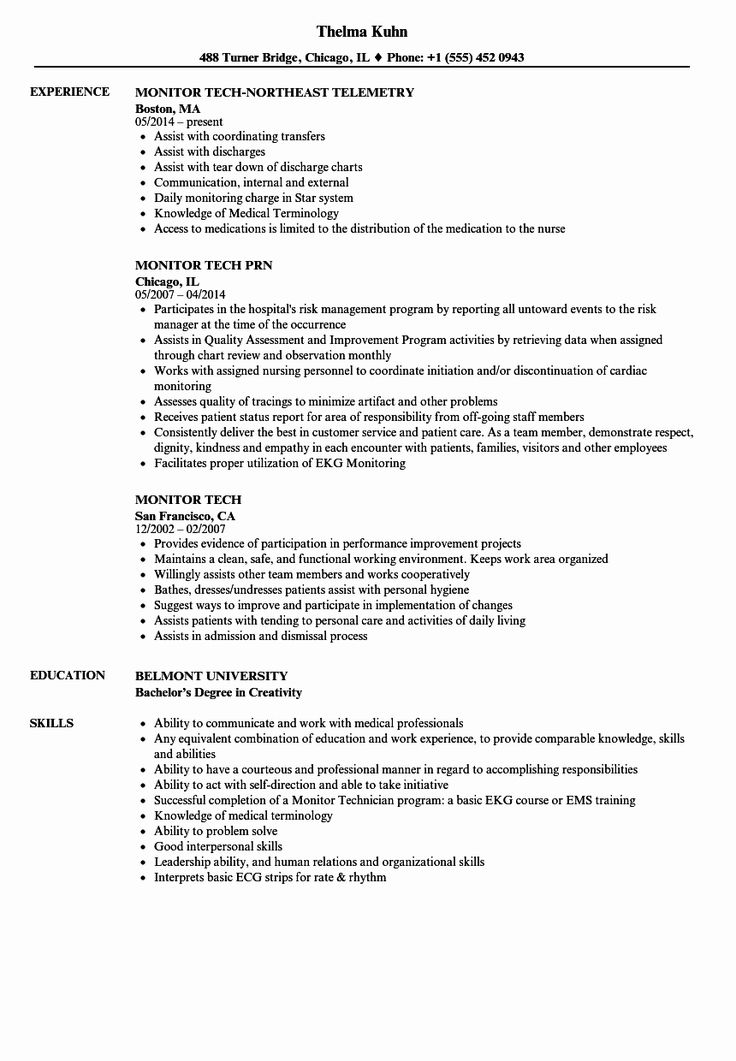 20 Telemetry Nurse Job Description Resume in 2020 (With