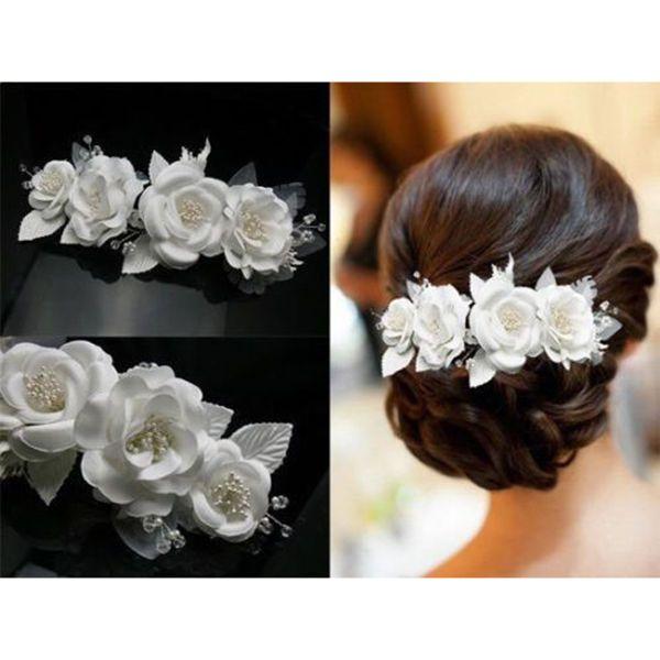 White Lace Silky Flower Bridal Headpiece Hair Clip Women Lady Girl Wedding Gift