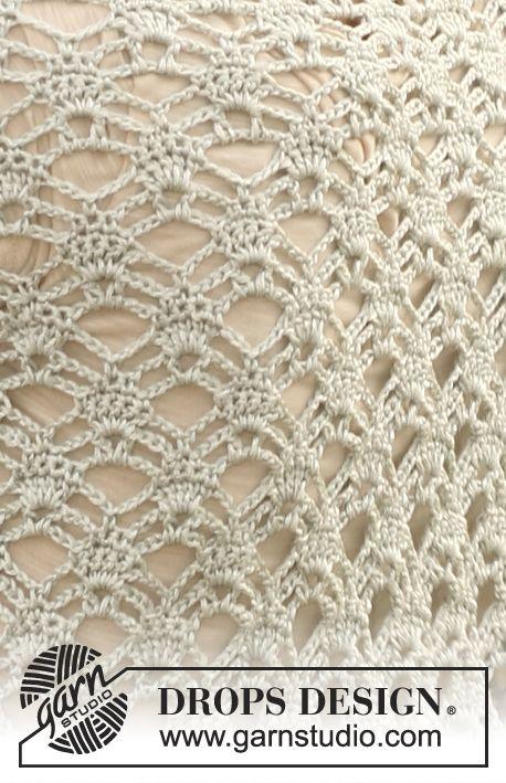 """Virkad DROPS sjal i """"Cotton Viscose"""". ~ DROPS Design"""