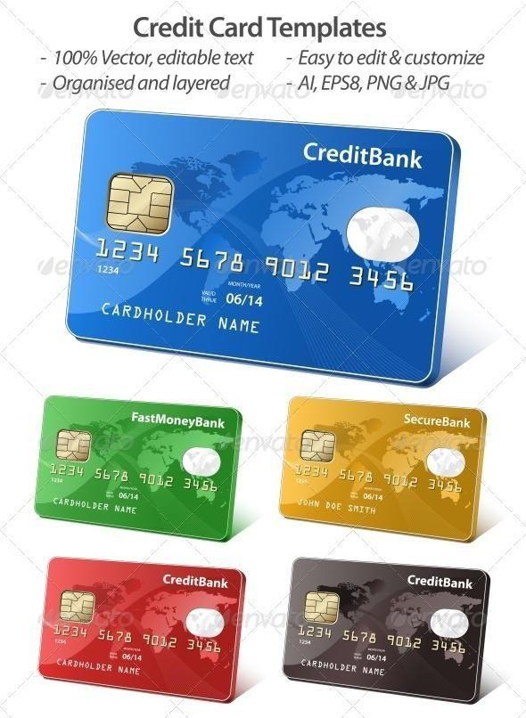 Credit Card Illustration Kreditkarte Credit Card Templates For 5 Envato Market Vector Vectorgra Credit Card Design Credit Card Website Credit Card Images