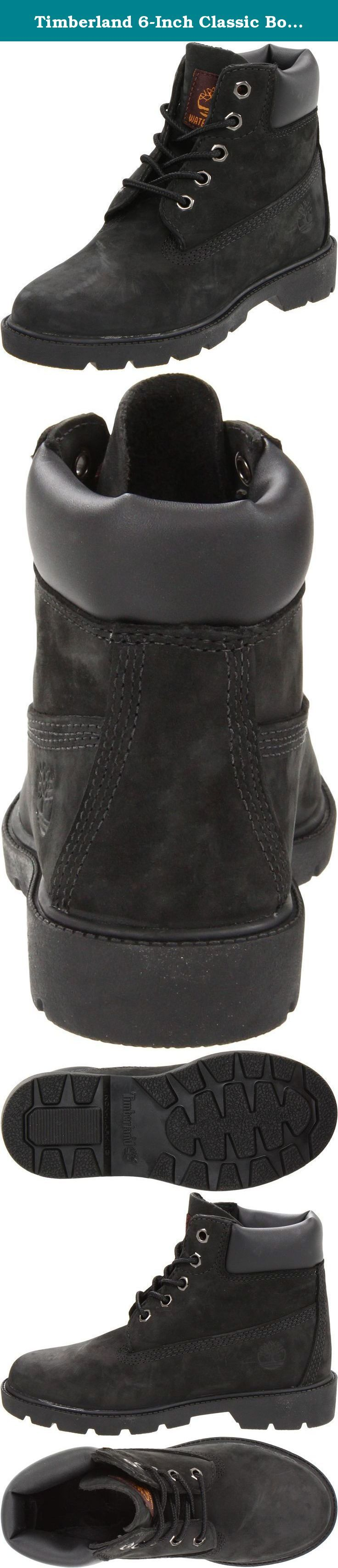 Timberland 6-Inch Classic Boot (Toddler/Little Kid/Big Kid). This is the original, the boot that helped start it all, but for kids. The Timberland 6 Classic Boot Kid's is crafted in premium, full-grain leather and constructed to be sturdy, supportive and waterproof. This kid's boot is rugged and dependable. Because this Timberland boot is 100% waterproof you don't need to worry about puddles, rain or mud. A textile lining and insole with extra padding at the tongue and collar are for…