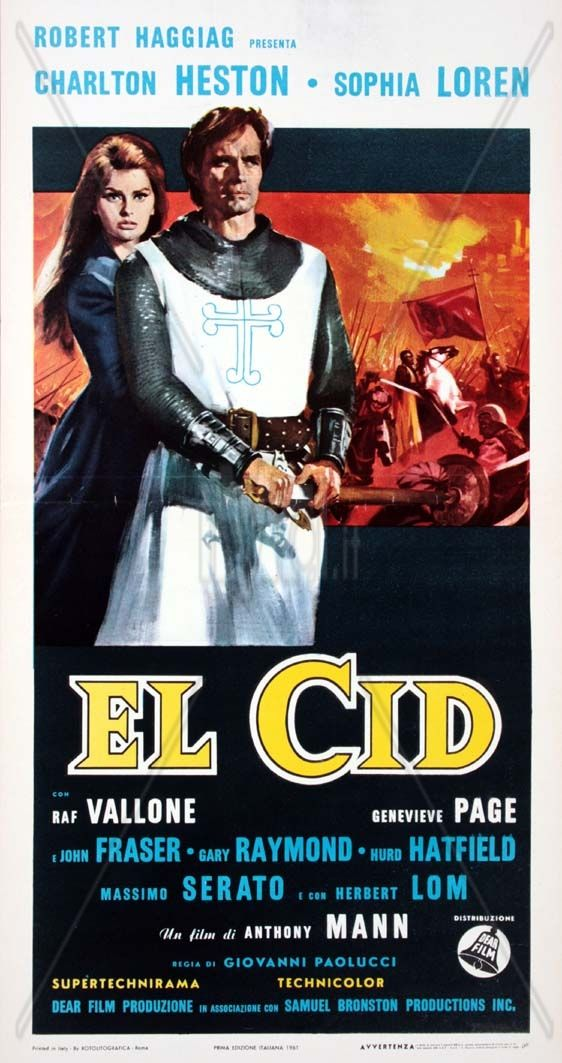 EL CID (1961) - Charlton Heston - Sophia Loren - Produced by Samuel Bronston - Directed by Anthony Mann - Allied Artists - Insert Movie Poster.