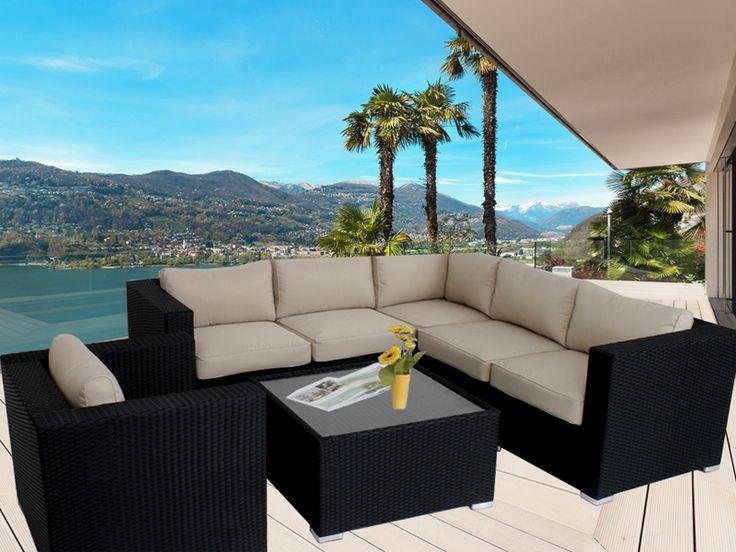 Black Endora Corner Outdoor Wicker Furniture Lounge
