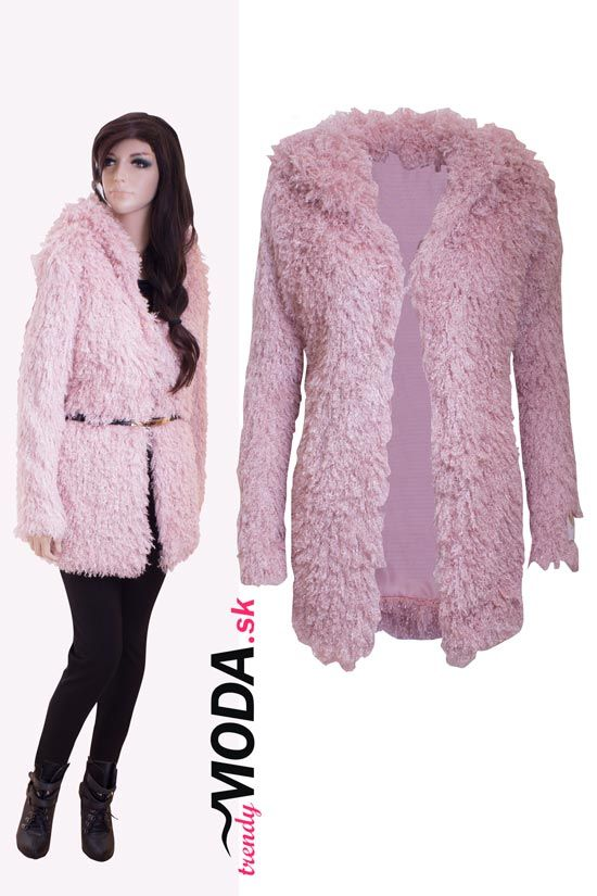 Extravagantný ružový huňatý dámsky zimný kabát s kapucňou. - trendymoda.sk