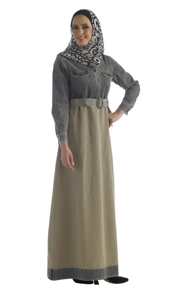 Beige and Black Half Denim Abaya, High Split Waist.