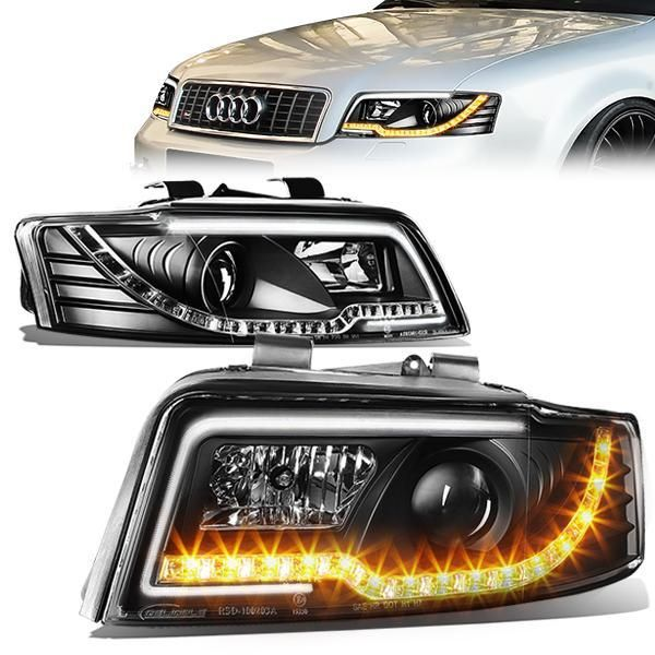 02 05 Audi A4 S4 B6 Quattro Led Drl Turn Signal Projector Headlights Black Audi A4 Hid Headlights Audi